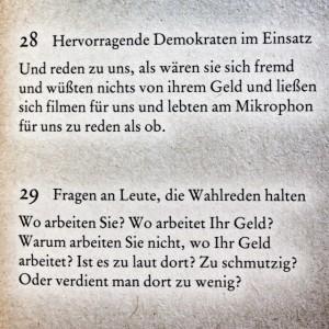 """Quelle: Martin Walser: """"Der Grund zur Freude. 99 Sprüche zur Erbauung des Bewußtseins."""" (Rowohlt)"""